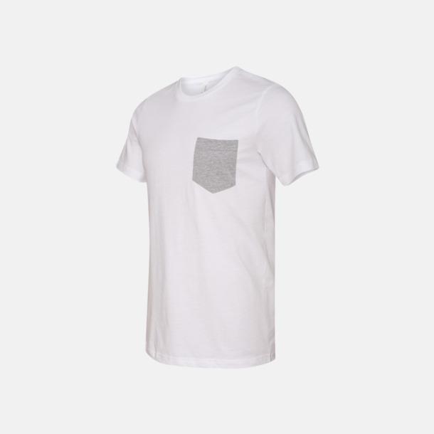 Vit/Athletic Heather Herr t-shirts med bröstficka i kontrasterande färg - med reklamtryck