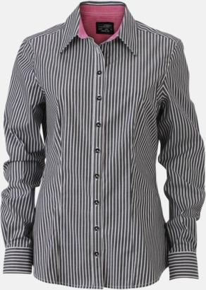 Grafit-Vit/Mörklila (dam) Blusar & skjortor i randigt mönster med reklamtryck