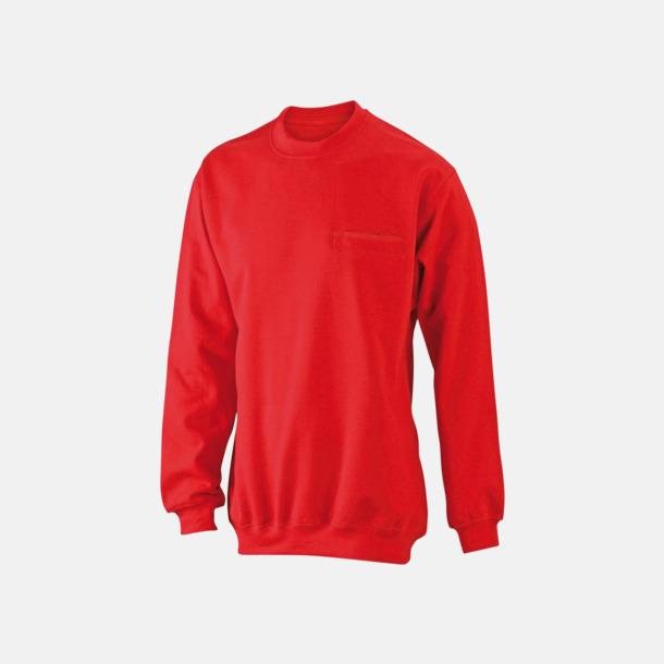 Röd Fickförsedda collegetröjor med reklamtryck