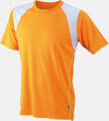 Orange / Vit Flerfärgade tränings t-shirts i herrmodell med reklamtryck
