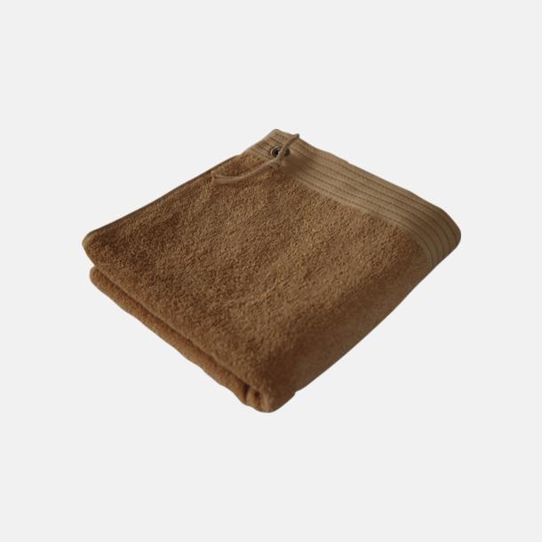 Ljusbrun Gästhanddukar med metallögla och snöre - med brodyr