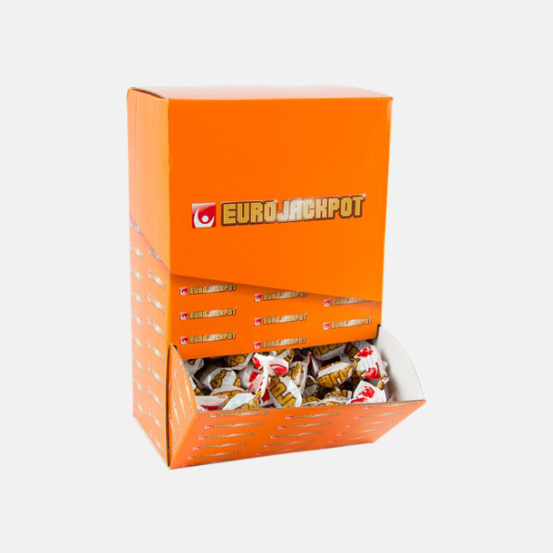 Godisautomat med fullfärgstryck (se tillval) Smörkolor med chokladöverdrag - med reklamtryck