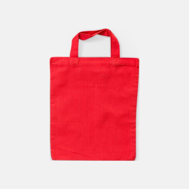 Röd Liten bomullskasse med korta handtag