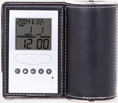 Svart / Silver Pennställ, termometer, klocka, kalender och alarm i 1 - med reklamtryck