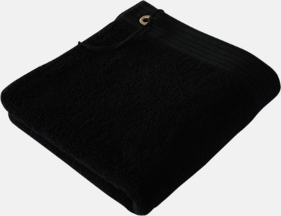 Svart Handdukar med metallögla och snöre - med brodyr