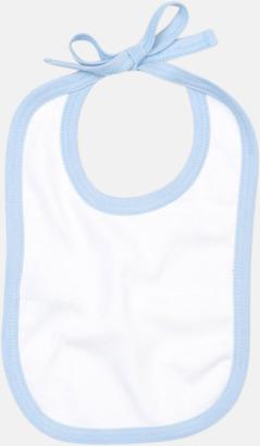 Vit/Dusty Blue Haklappar i bomull med kontrasterande färgram - med reklamtryck