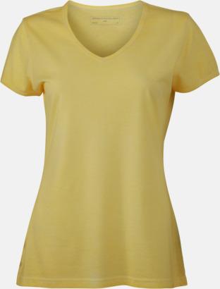 Ljusgul (dam) Trendiga v-neck t-shirts i herr- och dammodell med reklamtryck