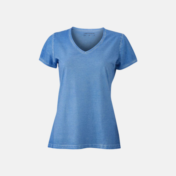 Horizon Blue (dam) Trendiga v-neck t-shirts i herr- och dammodell med reklamtryck