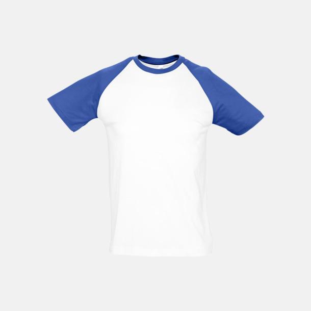 Vit/Royal Blue (herr) T-shirts i herr- och dammodell med kontrasterande färg - med reklamtryck