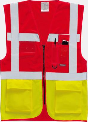 Röd/Hi-Vis Yellow Varselvästar med 2-färgade modeller - med reklamtryck