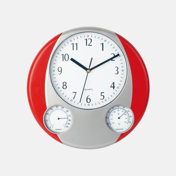 Silver / Röd Väggklocka och termometer med reklamtryck