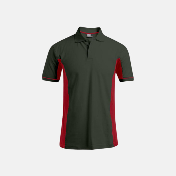 Hunting Green/Fire Red (herr) Pikétröjor i funktionsmaterial med tryck