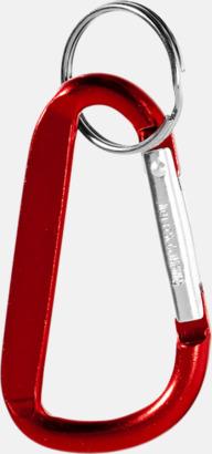 Röd (PMS 187C) Karbinhake med nyckelring - med tryck