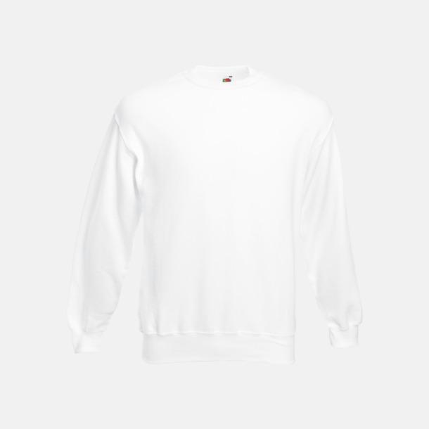 Vit Klassisk sweatshirt med reklamtryck