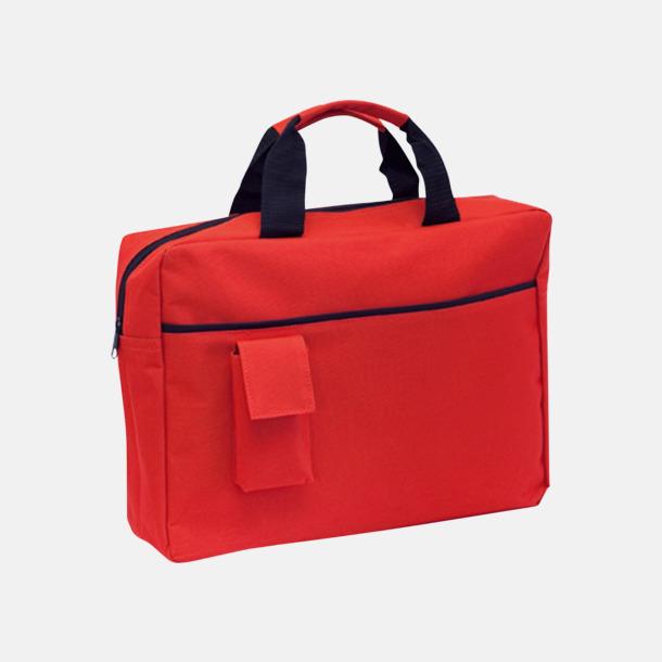 Röd Dokumentväskor med mobilfickor - med tryck
