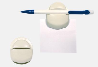 Vit Memoclip- Penn och notishållare med tryck