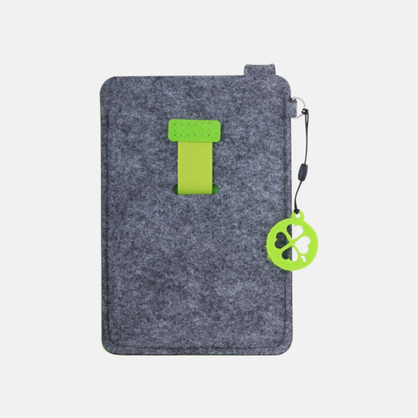 Grå/Limegrön (stor) Mobilfodral i filt med reklamtryck