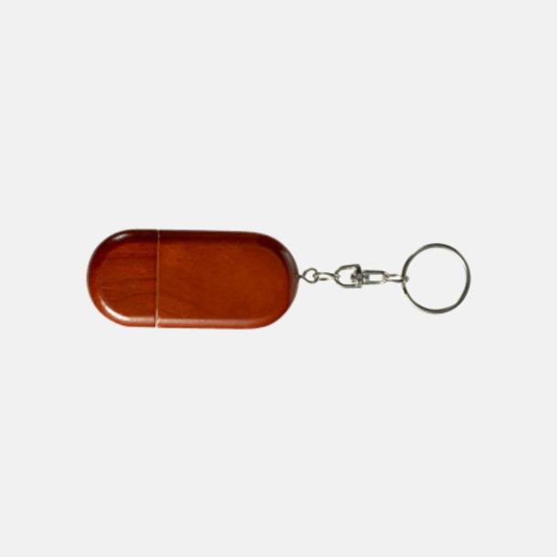Rött trä Ovalt eko USB-minne med eget tryck