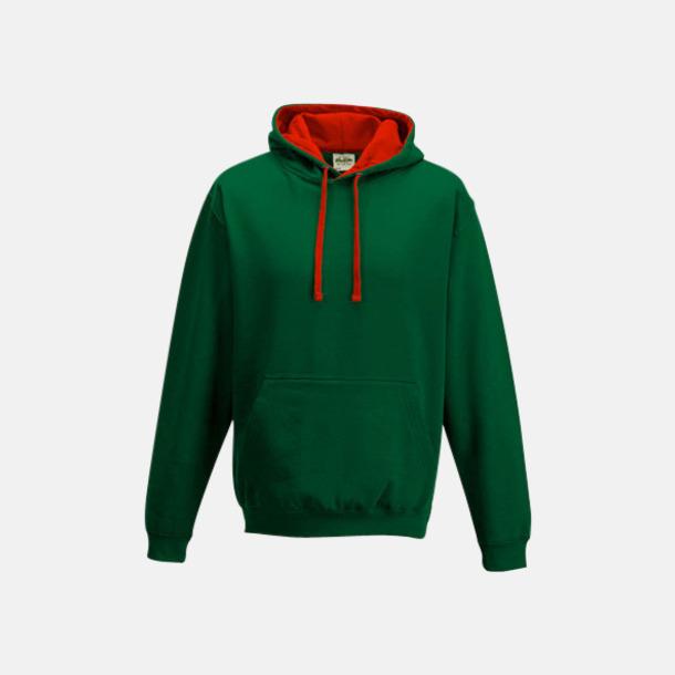 Bottle Green/Fire Red Huvtröjor med insida av luva och dragsko i kontrasterande färg - med reklamtryck