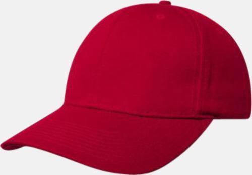 Röd Denimkepsar i två varianter med reklambrodyr
