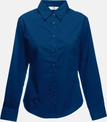 Marinblå Långärmade blusar med egen brodyr