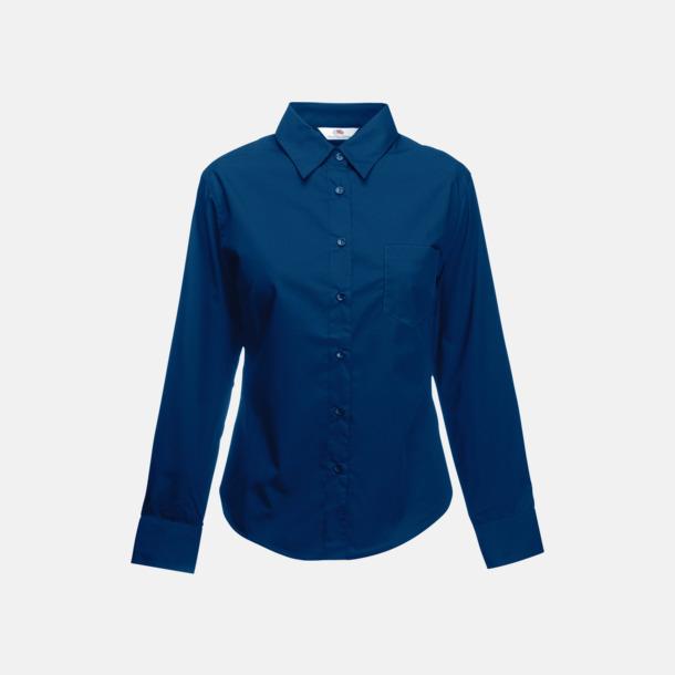 Marinblå Långärmade blusar med egen reklambrodyr