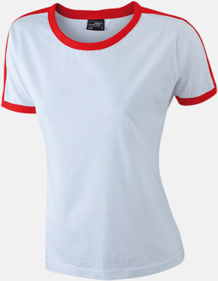 Vit/Röd (dam) T-shirts med kontrastfärger - med reklamtryck