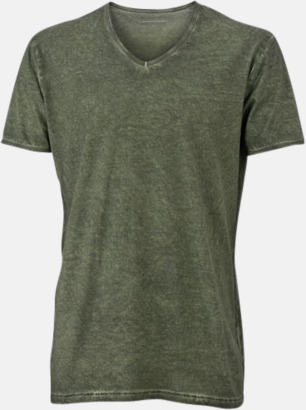 Dusty Olive (herr) Trendiga v-neck t-shirts i herr- och dammodell med reklamtryck