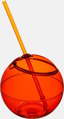 Orange Klotformad mugg med sugrör - med tryck