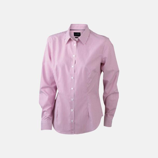 Vit/Röd (dam) Bomullsblusar & -skjortor med fina ränder - med reklamtryck