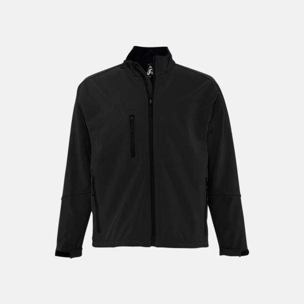 Svart (herr) Softshell jackor i herr- & dammodell med reklamtryck