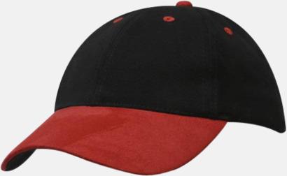 Svart/Röd Kraftiga mockakepsar med reklambrodyr