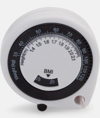 Vit / Svart BMI-måttband med eget reklamtryck