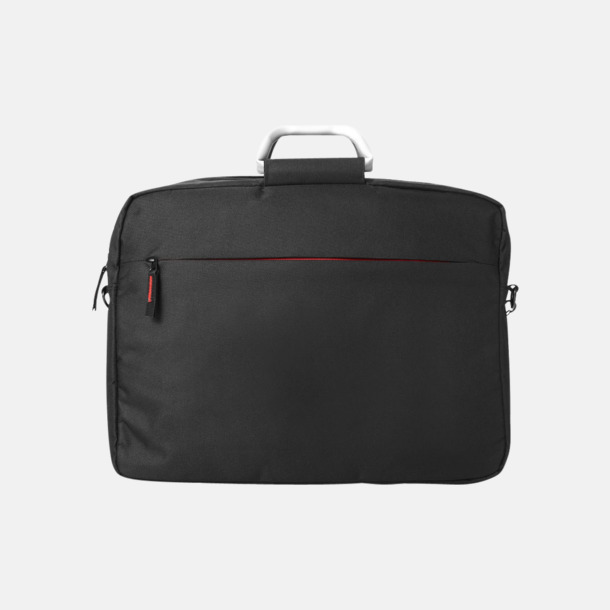 Svart/Röd Laptopväskor med bärhandtag i aluminium - med reklamtryck