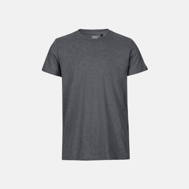 Dark Heather (herr) Fitted t-shirts i ekologisk fairtrade-bomull med tryck