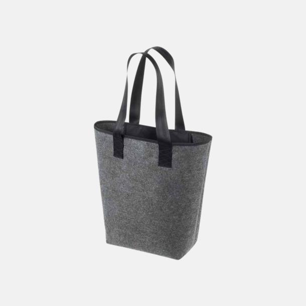 Anthracite/Svart Handväskor av filt med reklambrodyr
