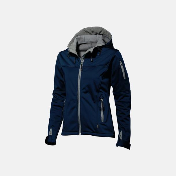 Marinblå/Grå  solid (dam) Soft-shell-jackor i herr- & dammodell med reklamtryck