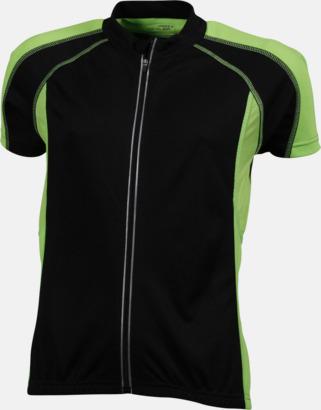 Svart/Limegrön (dam) Herr- och damcykeltröjor med hel dragkedja - med reklamtryck