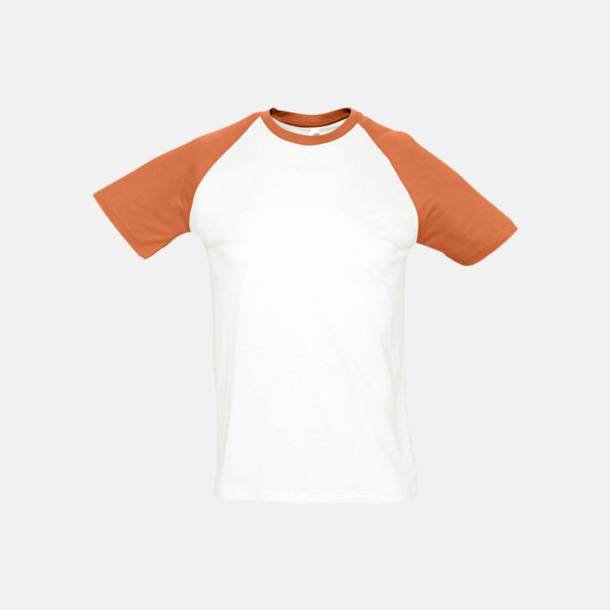 Vit/Orange (herr) T-shirts i herr- och dammodell med kontrasterande färg - med reklamtryck