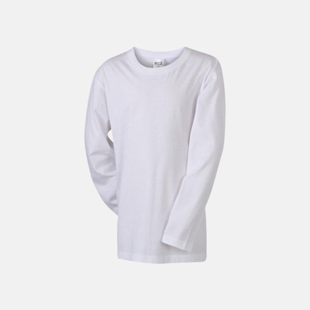 Vit (barn) Långärmade t-shirts i herr-, dam- & barnmodell med reklamtryck