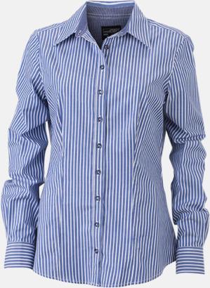 Blå-Vit/Marinblå (dam) Blusar & skjortor i randigt mönster med reklamtryck