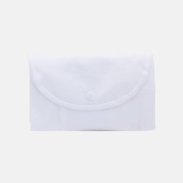 Vit (axelkasse) Vikbara non woven-påsar med knäppning - med reklamtryck