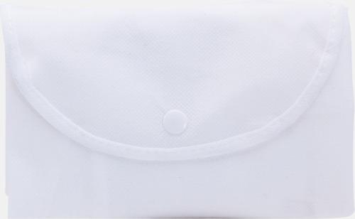 Vit Vikbara non woven-påsar med knäppning - med reklamtryck