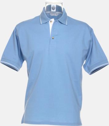 Ljusblå/Vit (herr) Tvåfärgade pikétröjor i herr- och dammodell med reklamtryck