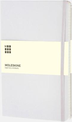 Vit (ruled) Moleskines stora anteckningsböcker med linjerade eller rutade sidor - med reklamtryck