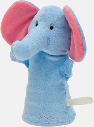 Elefant Gosedjurs handdockor med egen logga