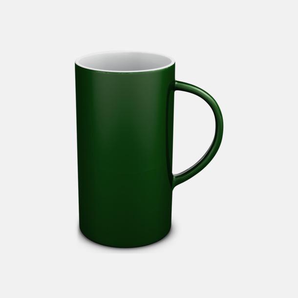 Grön/Vit Cylinderformade stengodsmuggar med eget tryck