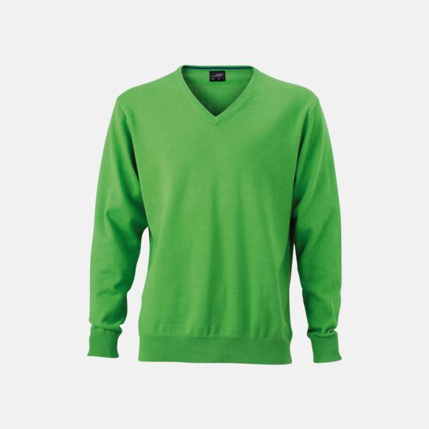 Grön V-ringade herrtröjor med eget tryck