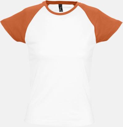 Vit/Orange (dam) T-shirts i herr- och dammodell med kontrasterande färg - med reklamtryck