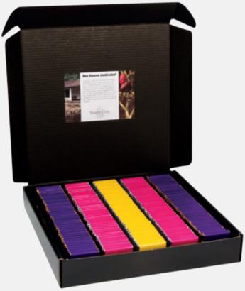 Standardkartong (ingår) Chokladbitar 5 grams med reklamtryckt banderoll